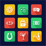 Casino Or Gambling Icons Flat Design Stock Images