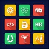 Casino Or Gambling Icons Flat Design Stock Images