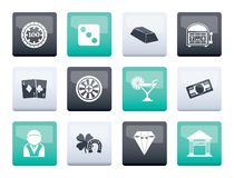 Casino and gambling icons over color background. Vector icon set stock illustration