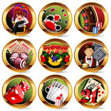 Casino or gambling icons set Stock Photography
