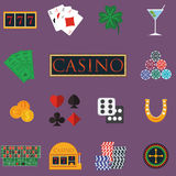 Casino and gambling icons set with slot machine and roulette, chips, poker cards, money, dice, coins, horseshoe flat design vector Stock Photography