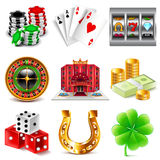 Casino and gambling icons vector set Stock Image
