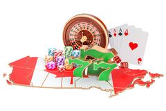 Casino and gambling industry in the Canada concept, 3D. Rendering isolated on white background Stock Photo