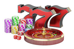 Casino, gambling and jackpot concept. 3D rendering Royalty Free Stock Photography