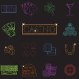 Casino and gambling line icons set with slot machine and roulette, chips, poker cards, money, dice, coins, horseshoe flat design v Stock Images