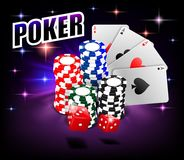 Casino Gambling Poker background design. Poker banner with chips, playing cards and dice. Online Casino Banner on shiny stock illustration