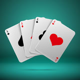 Casino gambling poker blackjack vector concept with playing cards with four aces. Combination playing card illustration royalty free illustration
