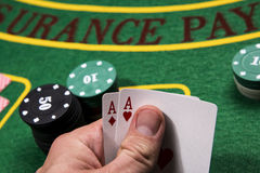 Casino, gambling, poker. Blurring background. Royalty Free Stock Images