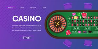 Casino Gambling Roulette Green Table Illustration royalty free illustration