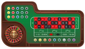 Casino gambling roulette table and chips. Realistic vector 3d cartoon illustration royalty free illustration