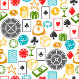 Casino gambling seamless pattern with game objects Royalty Free Stock Photo
