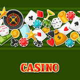 Casino gambling seamless pattern with game sticker objects Stock Photo