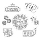 Casino and gambling sketched symbols Stock Image