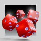 Casino gambling template concept. Casino background. Casino gambling template concept.  Dice vector design isolated background.Red playing dices.Rolling the Stock Images