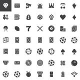 Casino and gambling vector icons set. Modern solid symbol collection, filled style pictogram pack. Signs, logo illustration. Set includes icons as roulette Stock Image
