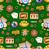 Casino gambling win luck fortune gamble play game seamless pattern background risk chance icons success vegas roulette. Gaming vector illustration. Jackpot royalty free illustration