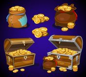 Casino and Game cartoon 3d money icons. Gold coins in moneybags. And chests. Game design money items. Gold coins on blue background stock illustration