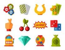 Casino game icons poker gambler symbols blackjack winning roulette joker slotbvector illustration. Stock Photography