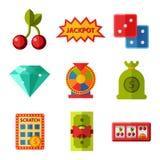 Casino game icons poker gambler symbols blackjack winning roulette joker slotbvector illustration. Stock Photo