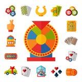 Casino game icons poker gambler symbols blackjack winning roulette joker slotbvector illustration. Royalty Free Stock Image