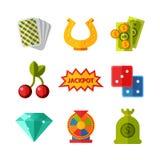 Casino game icons poker gambler symbols blackjack winning roulette joker slotbvector illustration. Stock Photos