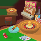 Casino game items concept, cartoon style Royalty Free Stock Image