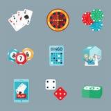 Casino game poker gambler symbols blackjack cards money winning roulette joker vector illustration. Casino game icons poker gambler symbols and blackjack cards Royalty Free Stock Images