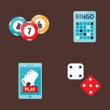 Casino game poker gambler symbols blackjack cards money winning roulette joker vector illustration. Casino game icons poker gambler symbols and blackjack cards Stock Photography