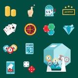 Casino game poker gambler symbols blackjack cards money winning roulette joker vector illustration. Casino game icons poker gambler symbols and blackjack cards Royalty Free Stock Image