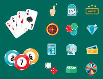 Casino game poker gambler symbols blackjack cards money winning roulette joker vector illustration. Casino game icons poker gambler symbols and blackjack cards Stock Image