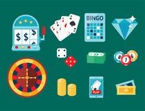 Casino game poker gambler symbols blackjack cards money winning roulette joker vector illustration. Casino game icons poker gambler symbols and blackjack cards Royalty Free Stock Photo