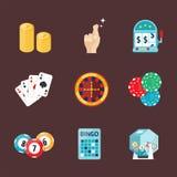 Casino game poker gambler symbols blackjack cards money winning roulette joker vector illustration. Casino game icons poker gambler symbols and blackjack cards Royalty Free Stock Photography