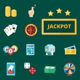 Casino game poker gambler symbols blackjack cards money winning roulette joker vector illustration. Casino game icons poker gambler symbols and blackjack cards Stock Photo