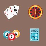 Casino game poker gambler symbols blackjack cards money winning roulette joker vector illustration. Casino game icons poker gambler symbols and blackjack cards Stock Images