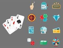 Casino game poker gambler symbols blackjack cards money winning roulette joker vector illustration. Casino game icons poker gambler symbols and blackjack cards Stock Photos