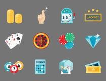 Casino game poker gambler symbols blackjack cards money winning roulette joker vector illustration. Casino game icons poker gambler symbols and blackjack cards Royalty Free Stock Photos