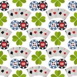 Casino roulette gambler joker slot machine poker game seamless pattern background vector illustration. Casino game poker gambler symbols and casino blackjack Royalty Free Stock Photo