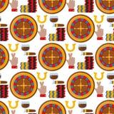 Casino roulette gambler joker slot machine poker game seamless pattern background vector illustration. Casino game poker gambler symbols and casino blackjack Stock Photo