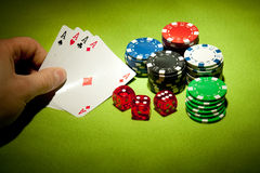 Casino games. Elements of casino games shot in studio Royalty Free Stock Photography