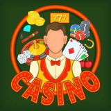 Casino games concept, cartoon style Stock Photography