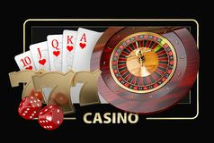 Casino Games of Fortune Conceptual Banner 3d Illustration of Casino Games Elements Stock Photos