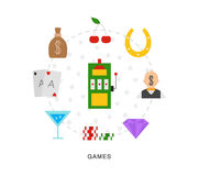 Casino games icons Royalty Free Stock Photo