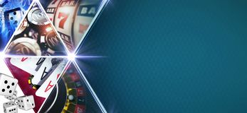 Casino Games Mosaic Banner. With 3D Rendered Gambling Elements Like Roulette,Slot Machines, Blackjack Playing Cards and Chips. Blue Texture Right Side Copy stock illustration