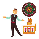 Casino gaming template poster with symbols and man vector illustration