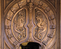 Casino. Gate Casino Huesca, modernism, carved wooden door in the City Casino Royalty Free Stock Photography