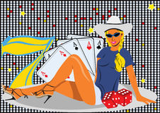 Casino girl. Abstract vector illustration of a young female on casino background Royalty Free Stock Photo