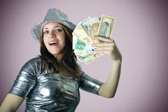 Casino girl with silver hat Stock Photo