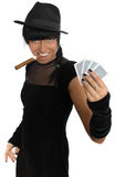 Casino girl witj cigar and cards isolated Stock Photo
