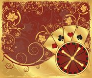 Casino gold background with poker cards,  Royalty Free Stock Images