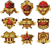 Casino Gold framed labels Royalty Free Stock Photography
